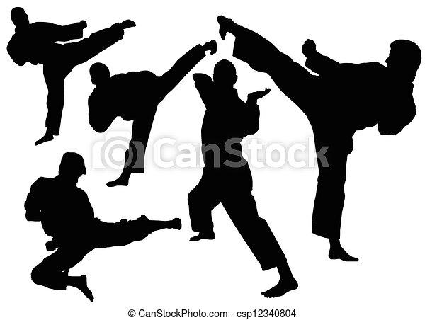 Stock de Ilustration de karate, patadas, silueta, blanco ...