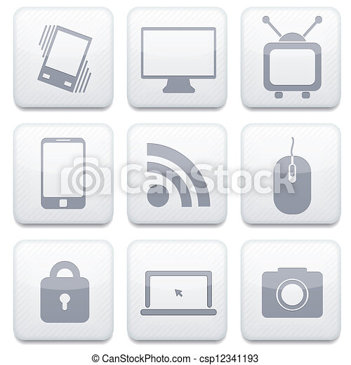 Vector white technology app icon set. Eps10 - csp12341193