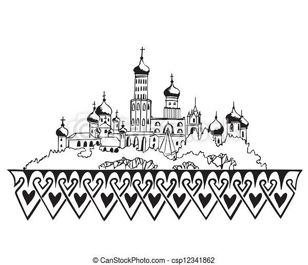 Moscow Kremlin Drawing Stylized Moscow Kremlin Sketch