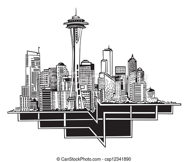 Eps Vectors Of Seattle Wa Skyline Black And White Vector