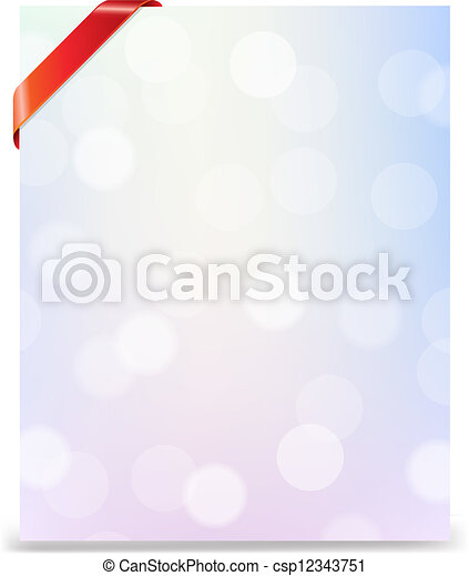 Banner With Red Ribbon And Bokeh - csp12343751