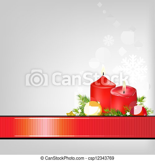 Christmas Background With Ribbon  - csp12343769