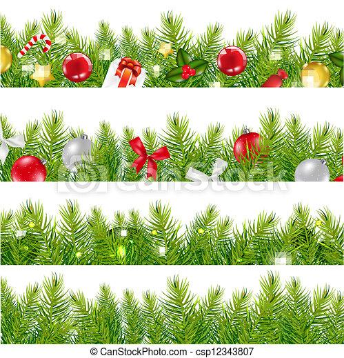 Big Borders Set With Christmas Christmas Tree Border Clip Art Free