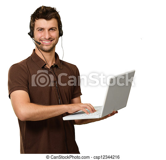 Man With Microphone Holding Laptop - csp12344216