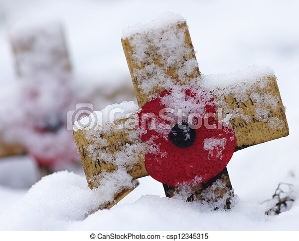 Cross With Red Poppy In The Snow - csp12345315