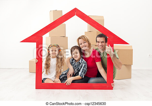 Happy family moving into a new home - csp12345630