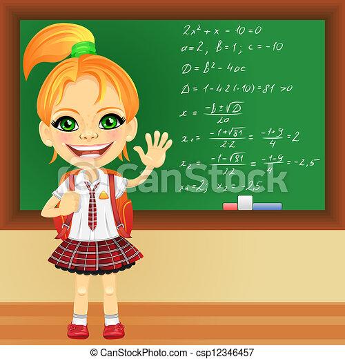 clipart vector of vector smiling schoolgirl near school backpack clipart free Cartoon School Backpack