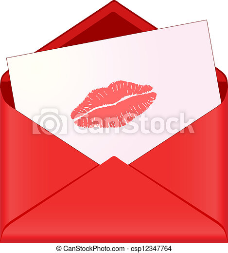 red envelope with lipstick kiss - csp12347764