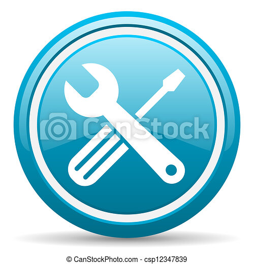 tools blue glossy icon on white background - csp12347839