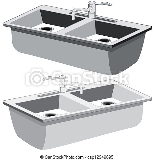 vector clipart of a kitchen sink on a white background csp27844704