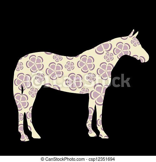 Horse silhouettes vector illustration - csp12351694