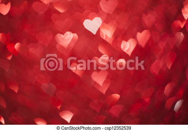 Shiny hearts bokeh light Valentine's day background  - csp12352539