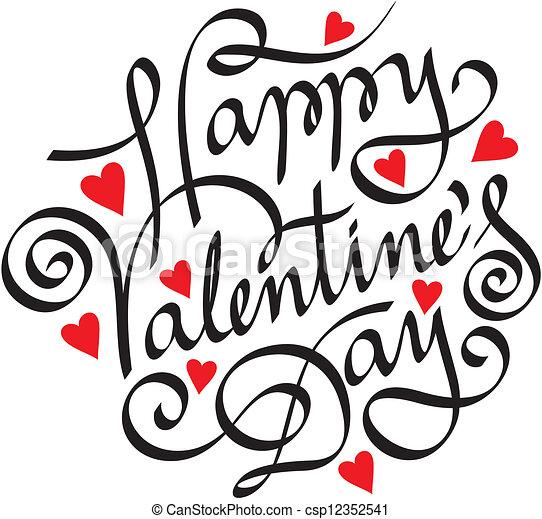 happy valentine day hand lettering - csp12352541