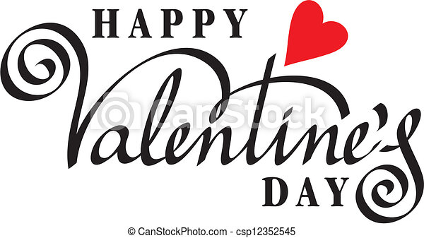 happy valentine day hand lettering - csp12352545