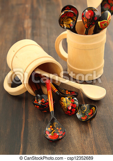 Traditional Russian decorated khokhloma wooden spoons - csp12352689