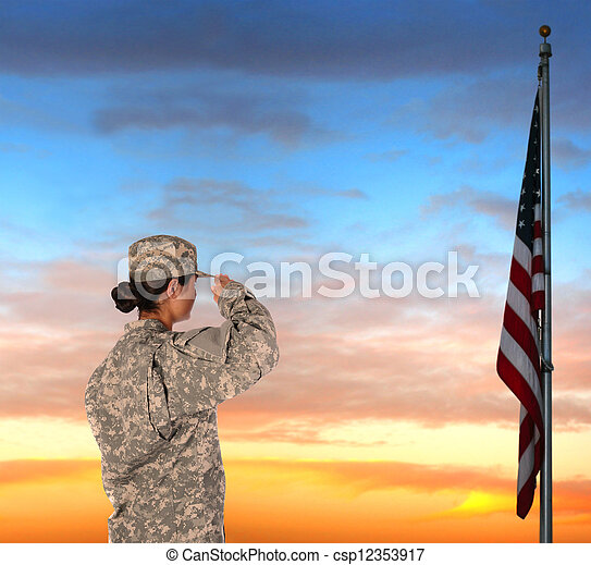 Female Soldier Saluting Flag - csp12353917