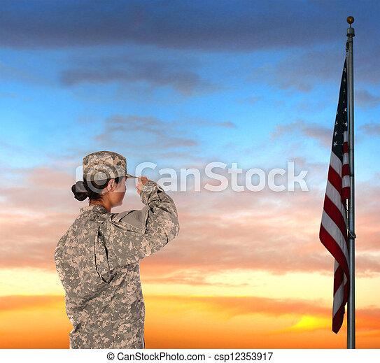 Female Soldier Saluting Flag - csp12353917