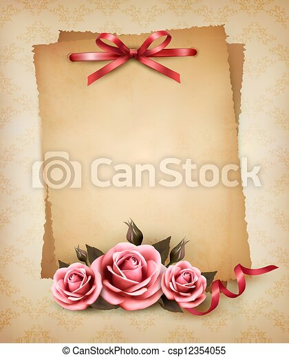 Retro background with beautiful pink rose and old paper. Vector illustration.  - csp12354055