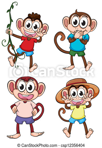 Four giggling monkeys - Giggle Clipart