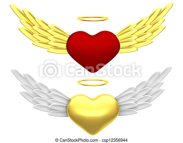Drawing of Angel heart - Abstract heart with wings and a halo ...