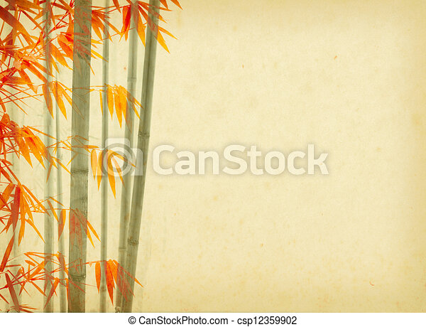 bamboo on old grunge antique paper texture - csp12359902