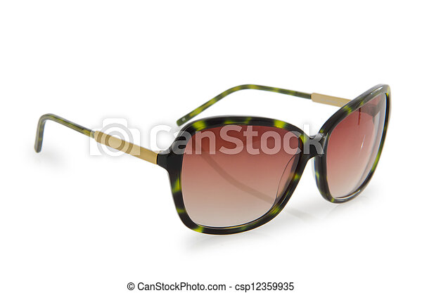 Fashion concept with sunglasses on white - csp12359935