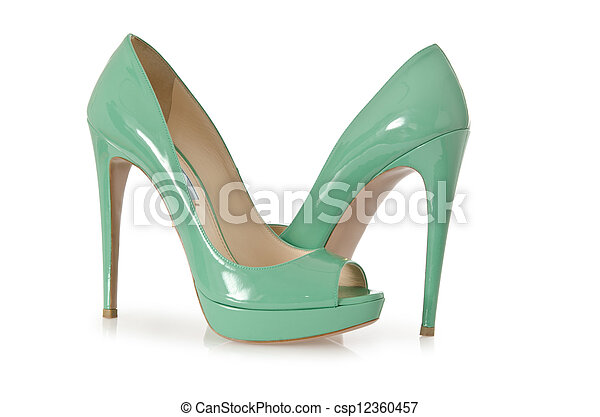 Woman green shoes isolated on white - csp12360457