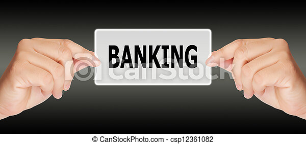 man hand touching on banking button - csp12361082