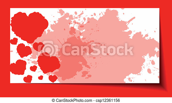 Heart from paper Valentines day card grunge background - csp12361156