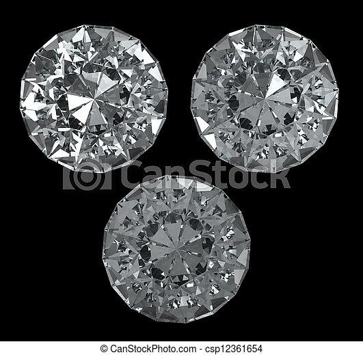 Recorte, Conjunto,  -, aislado,  bg, negro, diamantes, Trayectoria - csp12361654