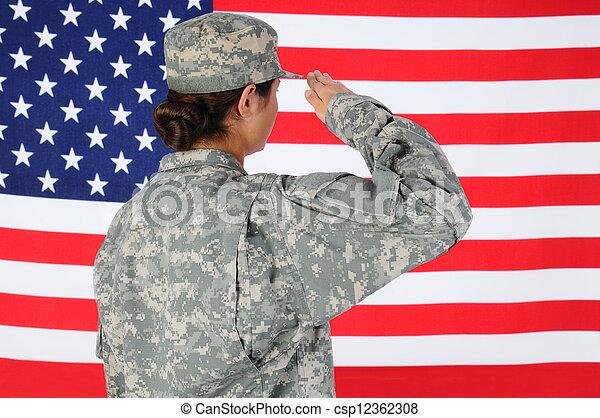Female Soldier Saluting Flag - csp12362308