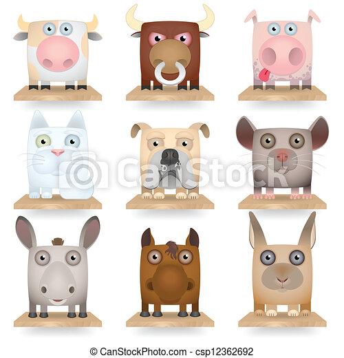 Domestic animals icon set - csp12362692