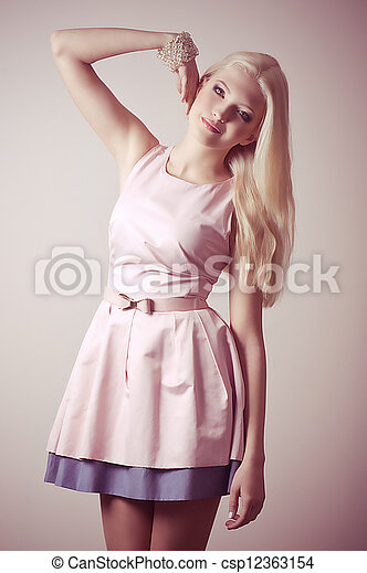 young girl in fashion clothes - csp12363154
