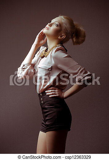 young girl in fashion clothes - csp12363329