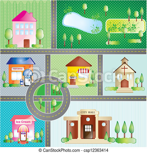 Vector Clip Art of Buildings and city places, concept. On ...