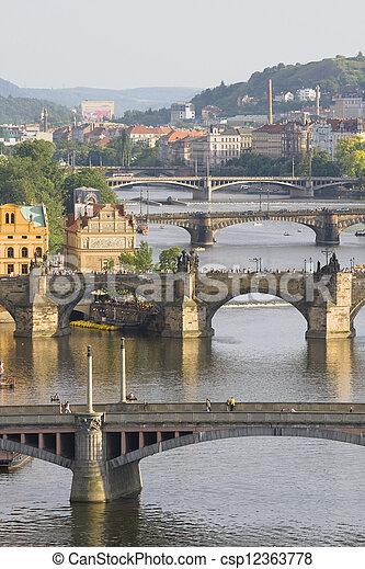 Aerial view on bridges in Prague  - csp12363778