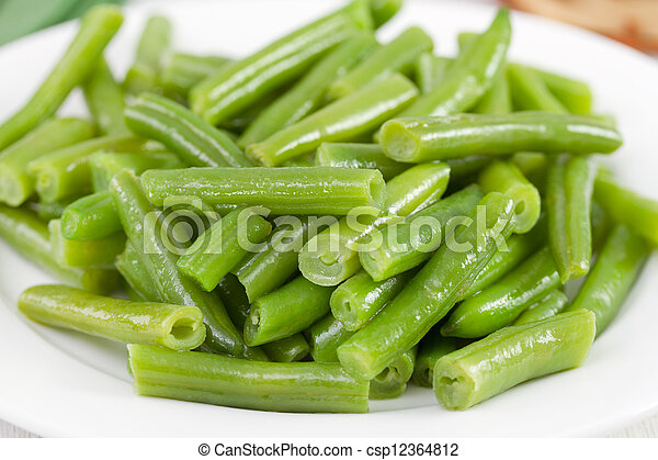 Stock Photography of boiled green beans on the white plate ...