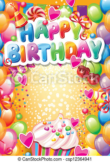 Template for Happy birthday card with place for text - csp12364941