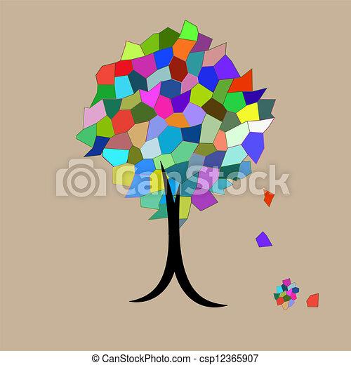 Vecteur - mosaïque, arbre, tomber, feuilles - banque d'illustrations