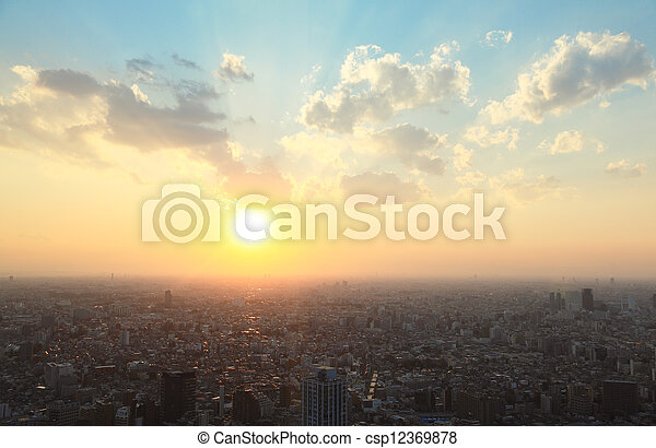 Tokyo sunset - csp12369878