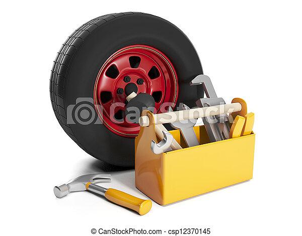 3d illustration: Repair cars. Replacement and repair of automobile wheels - csp12370145