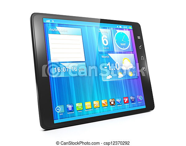Creating mobile applications for Tablet PCs. Tablet computer on a white background close-up - csp12370292