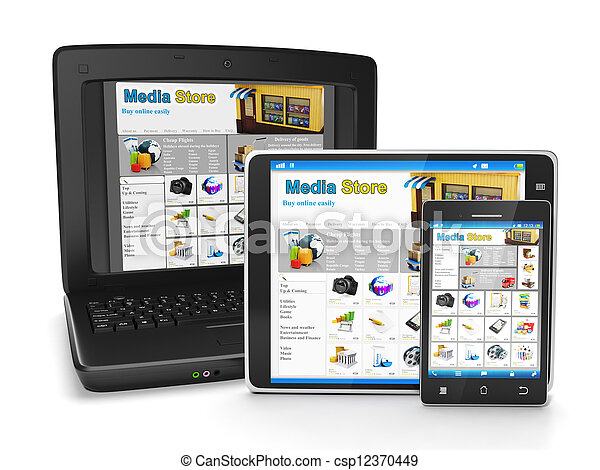 The group of mobile technology media store. Tablet PC, laptop and mobile phone buying goods online - csp12370449