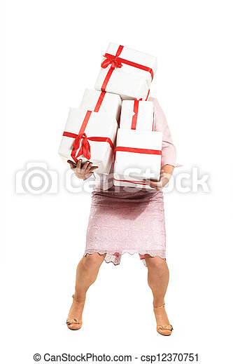 A beautiful woman with gifts. - csp12370751