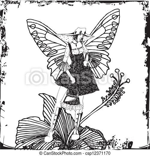 Vectors Illustration of Fairy on hibiscus flower - Fairy on ...