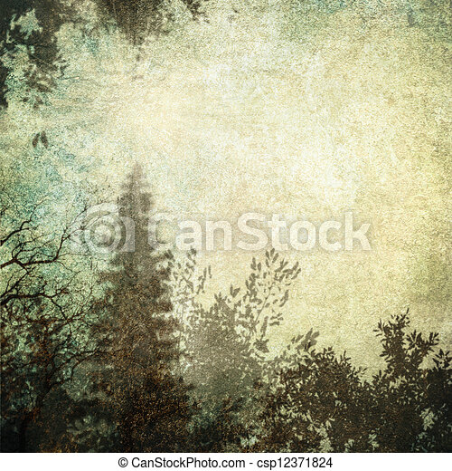 Computer designed highly detailed gray grunge border frame with forest-like vintage texture - csp12371824