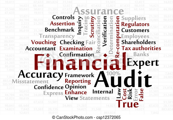 Clip Art Vector of Financial Audit word cloud with data sheet ...