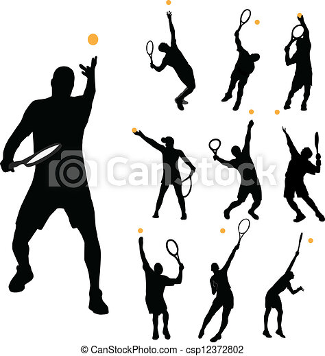 Vector Clipart of Tennis serve collection vector illustration ...