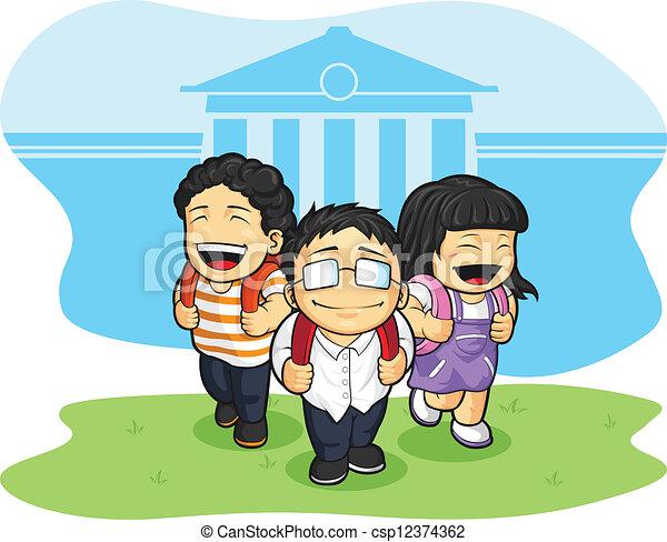Dibujos de caricaturas niños en la escuela - Imagui