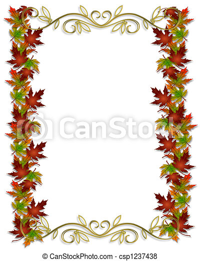 Autumn Fall Leaves Border Frame  - csp1237438